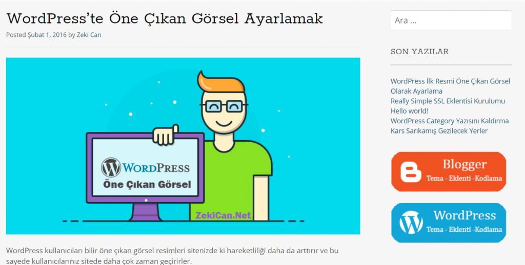 WordPress Öne Çıkarılmış Görsel