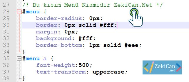 CSS de açıklama Kısımlar