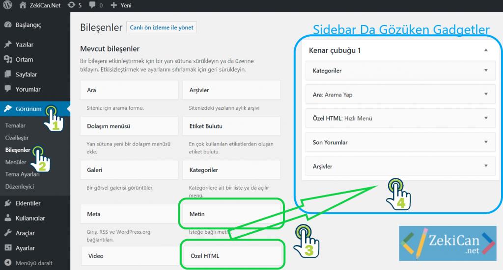 WordPresste Bileşenleri Sidebar da gösterme