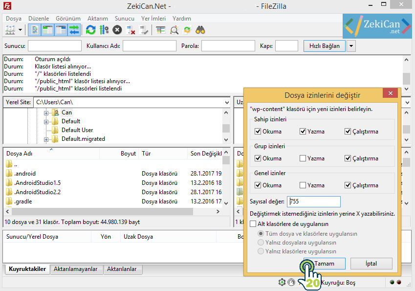 File Zilla Dosya İzinleri