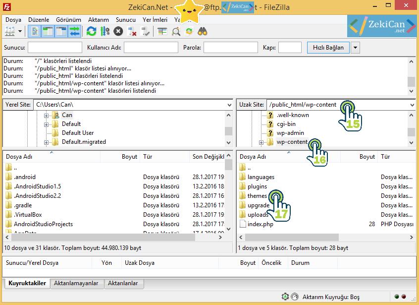FileZilla Programı Wp Content Klasörü