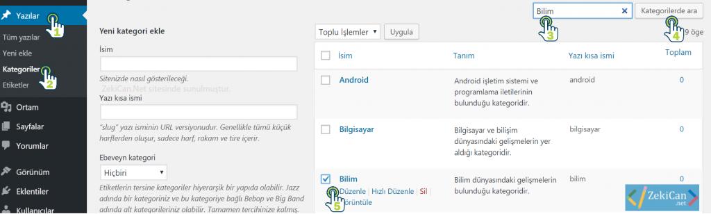 WordPress Kategorileriniz DÜzenleme
