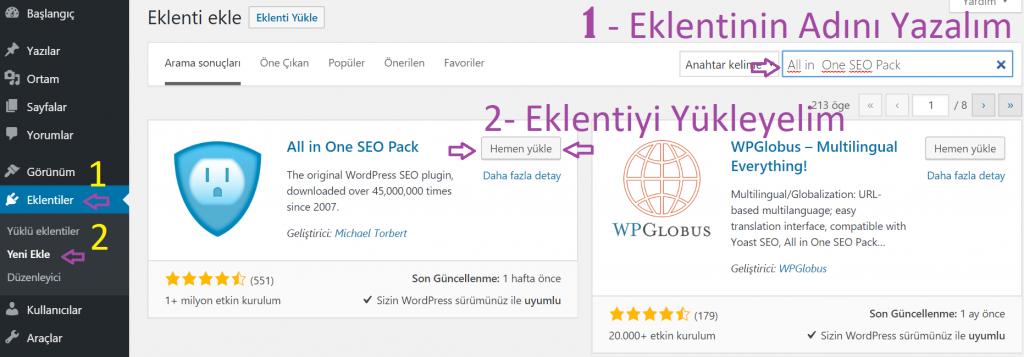 WordPress te eklenti nasıl kurulu