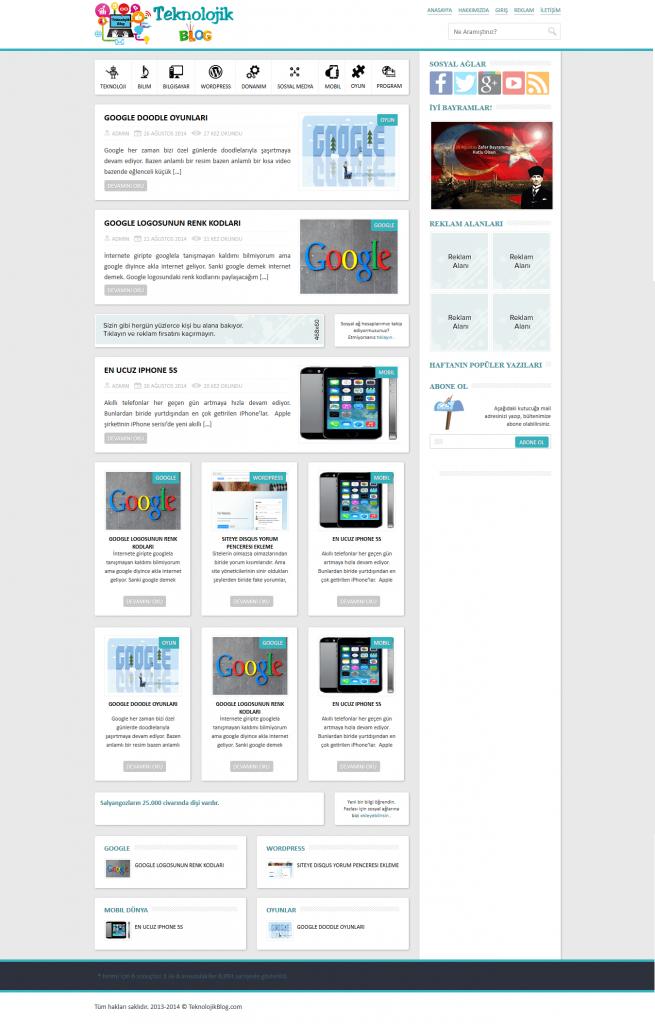 TeknolojikBlog web sitesi ekranı