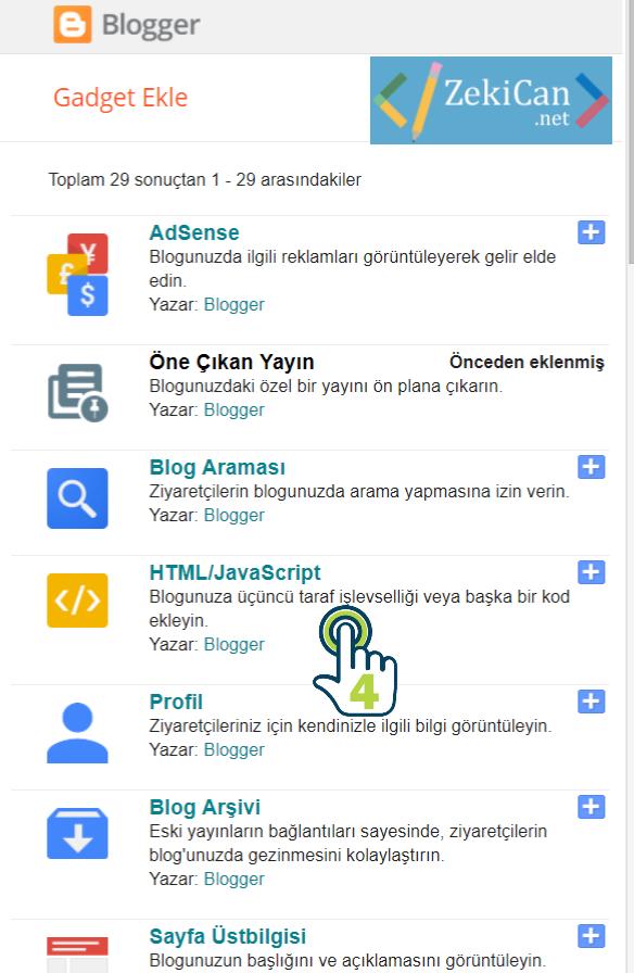 Blogger Gadget ekleme