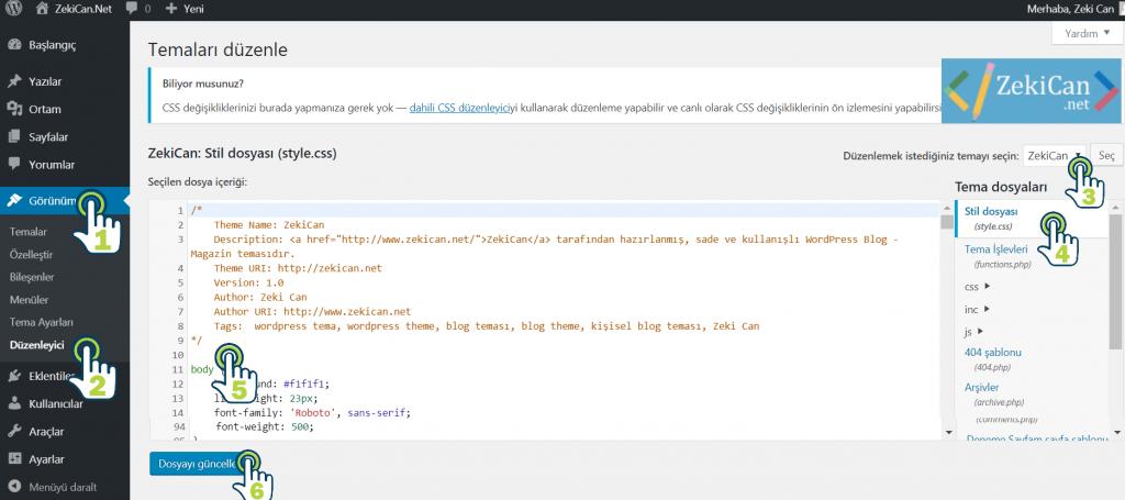 WordPress admin Panelde Style dosyasına ulaşma