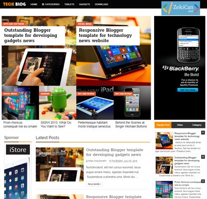 Tech Blog Ücretsiz Blogger Teması