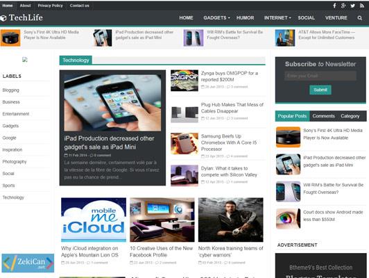 Techlife Blogger Teması