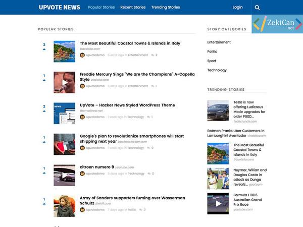 WordPress Upvote Teması