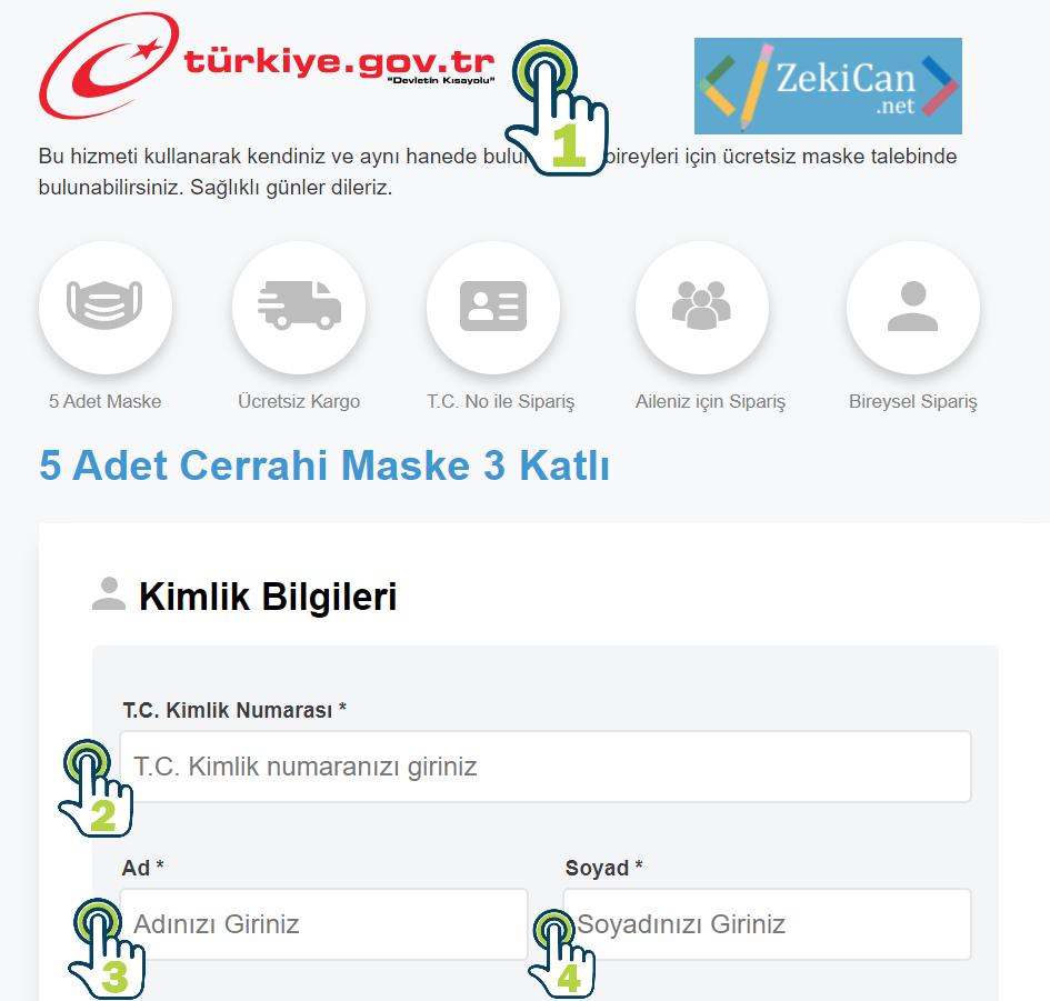E devlet üzerinden ücretsiz maske siparişi